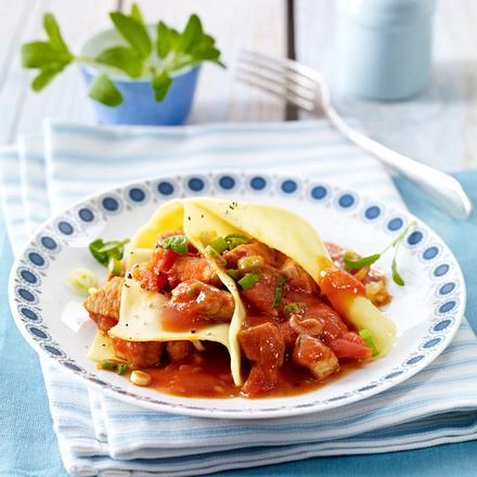Lasagneblätter mit Puten-Tomaten-Ragout Rezept