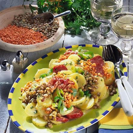 Lauwarmer Kartoffel-Linsen-Salat Rezept