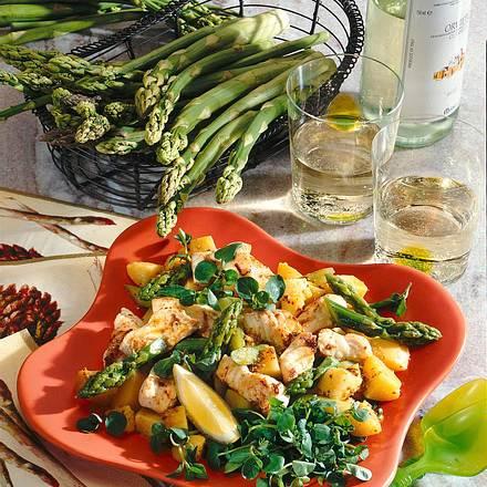 Lauwarmer Kartoffel-Spargelsalat mit Catfish Rezept