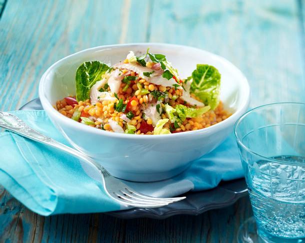 Lauwarmer Linsen-Petersilien-Salat mit Forellenfilets Rezept