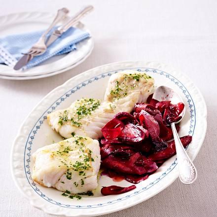 Lauwarmer Salat von der Urmöhre zu Kabeljaufilet Rezept