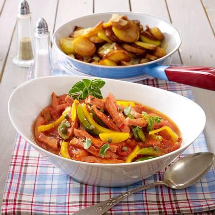 Leberkäse-Paprika-Pfanne mit Bratkartoffeln Rezept