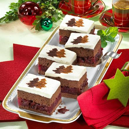 Lebkuchen-Biskuit-Schnitten mit Kirschkompott (Diabetiker) Rezept