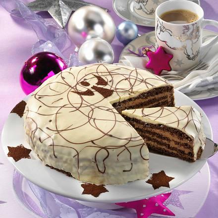 Lebkuchen-Biskuit-Torte mit Schokocreme Rezept