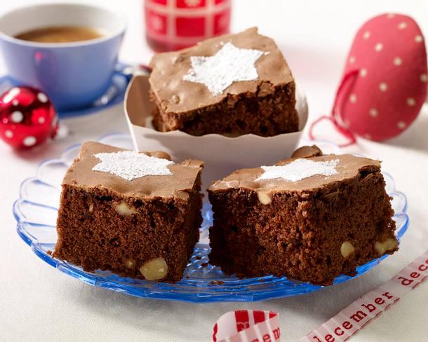 Lebkuchen-Brownies mit Puderzuckerstern Rezept