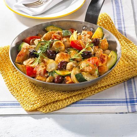 Leichte Gemüse-Puten-Pfanne