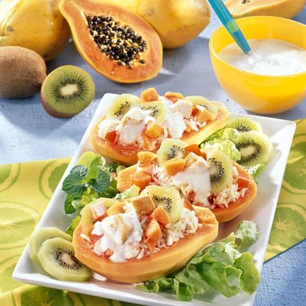 Leichter Geflügel-Reis-Salat in Papaya Rezept