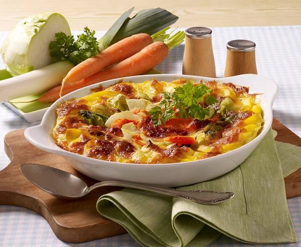 Leichter Kartoffel-Gemüse-Auflauf Rezept