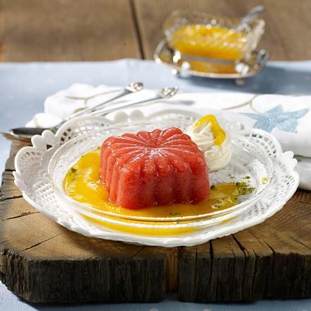 Leichtes Erdbeergelee auf Mangopüree Rezept