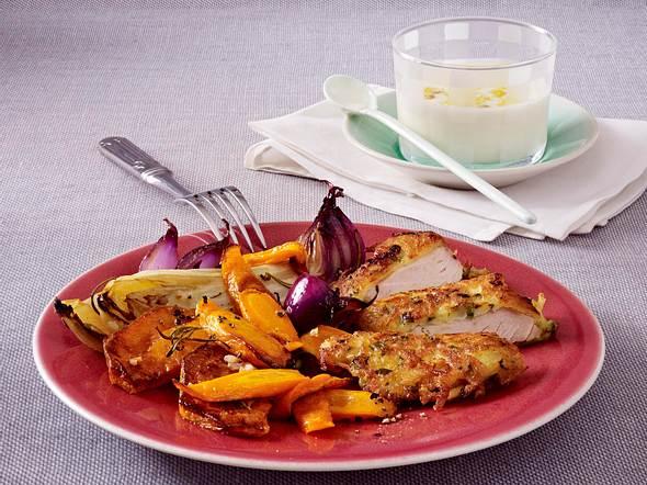 Leichtes Knusperschnitzel mit Ofengemüse Rezept