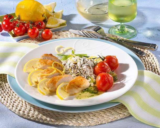 Lemon chicken (Zitronenhuhn) mit Reis und Schmortomaten Rezept