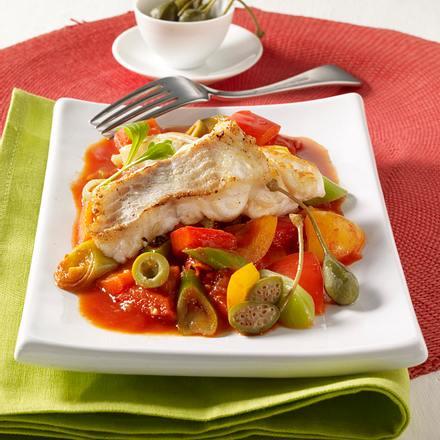 Lengfischfilet auf geschmortem Gemüse Rezept