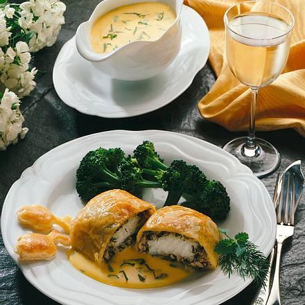 Lengfischfilet mit Champignons und Broccoli  Rezept