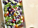 Lila Kartoffelsalat mit Kräuter-Dressing Rezept