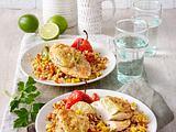 Limetten-Hähnchen mit Mais-Reis-Gemüse Rezept