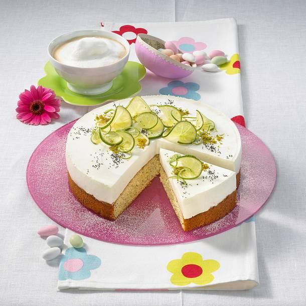 Limetten-Mohnkuchen mit Quarkcreme (Becherkuchen) Rezept