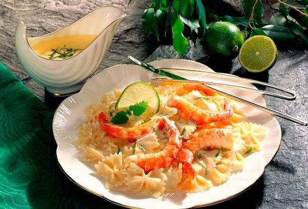 Limetten-Sahnesoße zu Scampis und Nudeln Rezept