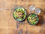 Linguine mit Avocado und Lachs und Linguine-Spinat-Salat Rezept