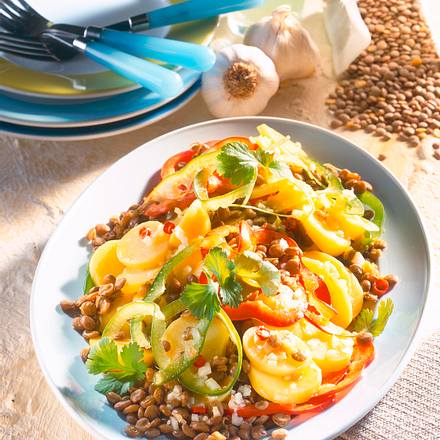 kartoffel linsen salat mit chili rezept chefkoch rezepte auf kochen backen und. Black Bedroom Furniture Sets. Home Design Ideas