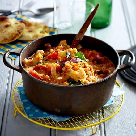 Linsen-Kokos-Curry mit inniger Blumenkohlromanze Rezept