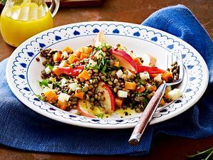 Linsen-Salat mit gebratenen Apfelspalten Rezept