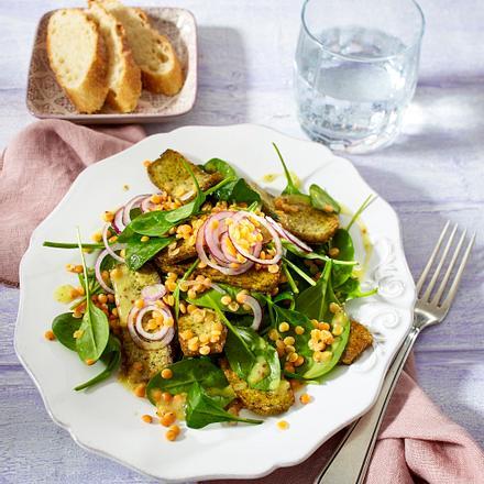 Linsen-Spinat-Salat mit Tofu Rezept