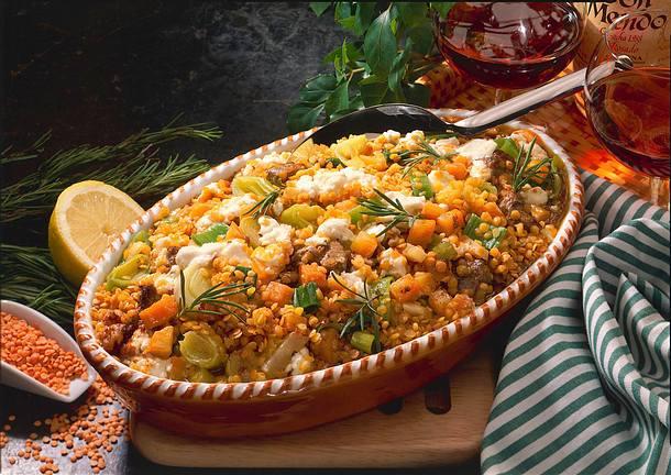Linsenauflauf mit Lamm und Gemüse Rezept