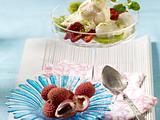 Litchi-Sorbet zu gemischten Früchten und Sektschaum Rezept