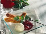 Löffelbiskuits in Mandel-Karamell mit Vanille-Eis Rezept