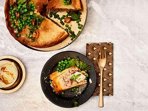 London in full Swing Pork pie mit minzerbsen und Orangendip Rezept