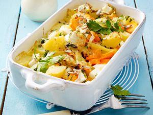 Mairübchen-Kartoffel-Auflauf mit Appenzellersoße Rezept