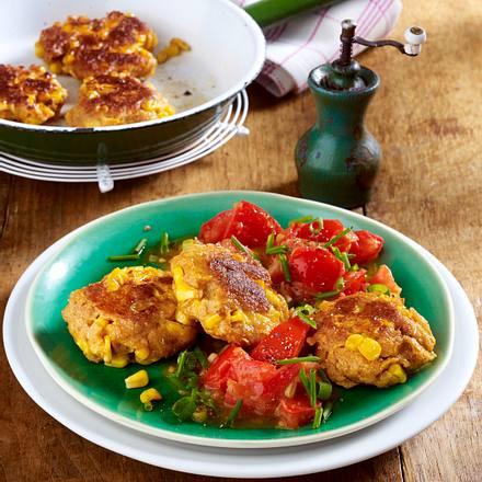 Mais-Cornflakesplätzchen auf Tomatenragout Rezept