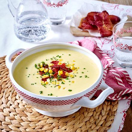 Mais-Cremesuppe mit Schinkenchips Rezept
