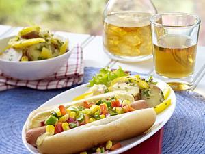 Mais-Relish Hot Dogs Rezept