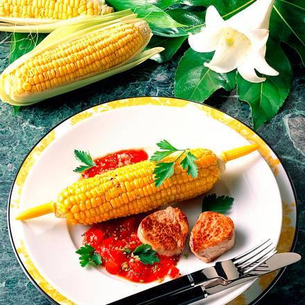 Mais und Steak in scharfer Soße Rezept