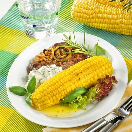 Maiskolben mit Steaks und Quark Rezept