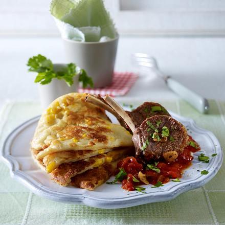 Maispfannkuchen mit Chilisoße zu Lammkoteletts Rezept