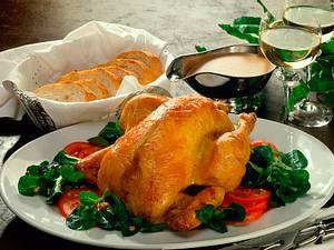 Maispoularde auf warmem Salatbett Rezept