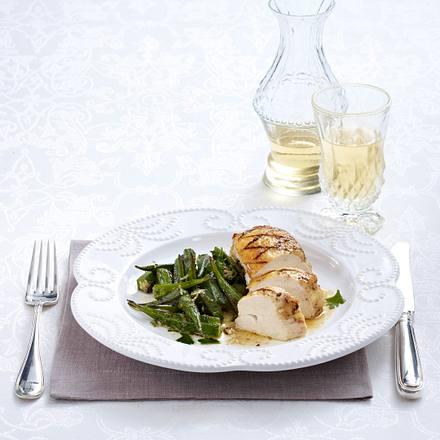 Maispoulardenbrust mit Okra-Petersilien-Gemüse (Lea Linster) Rezept