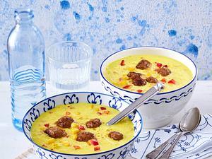 Maissuppe mit Brätklößchen (Aus vier mach eins) Rezept