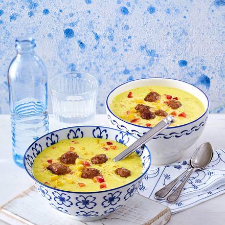 Maissuppe Mit Bratklosschen Aus Vier Mach Eins