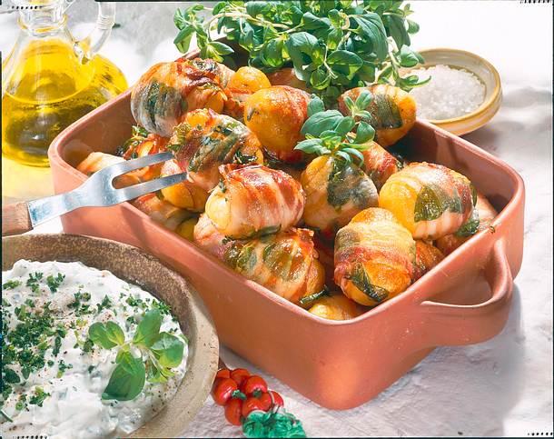 Majoran-Speck-Kartoffeln mit Dip Rezept