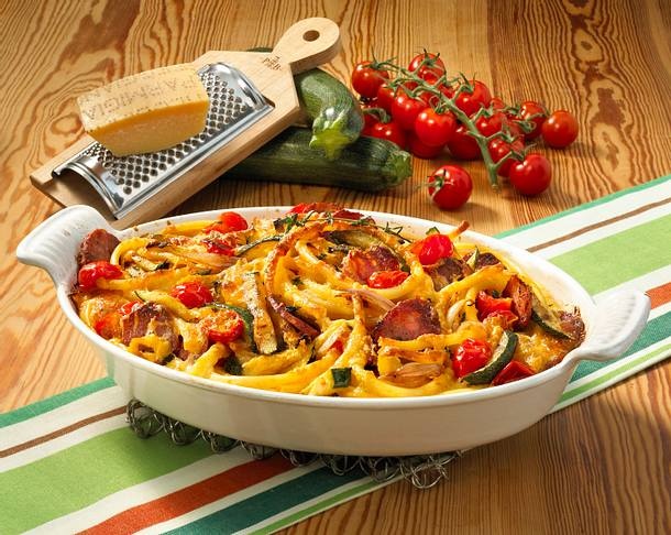 Makkaroni-Auflauf mit italienischer Salami Rezept