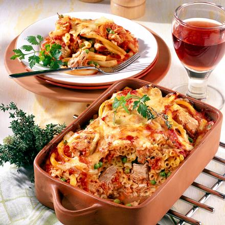 Makkaroni mit Tomaten-Sahne und Thunfisch Rezept