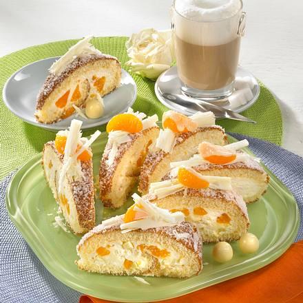 Mandarinen-Biskuitrolle mit Schokostückchen Rezept