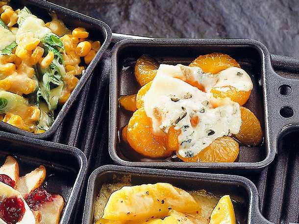 Mandarinen-Raclette mit Blauschimmelkäse Rezept