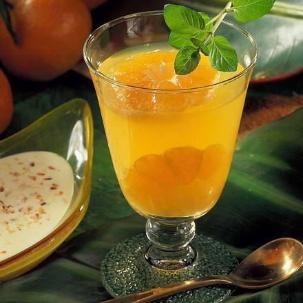 Mandarinengelee mit Kokos-Soße Rezept