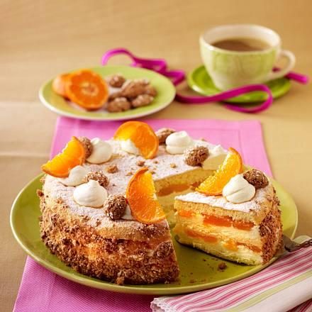Mandarinentorte mit Schmandcreme und Amaretto-Biskuit Rezept