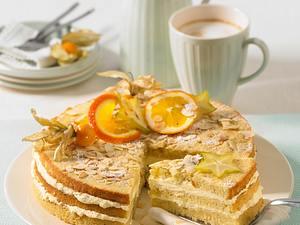 Mandel-Schichttorte mit Buttercreme Rezept
