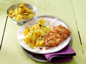 Mandel-Schnitzel mit indischem Kartoffelsalat Rezept